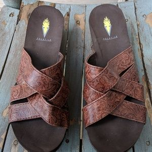 Volatile Brown Strappy Wedge Sandals Size 8M NWOT